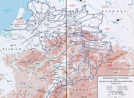 Eliminace Rúrské kapsy a postup k řece Labe a Mulde - 4.-18.dubna 1945