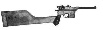 německá automatická pistole Mauser C96 s nasazenou pažbou