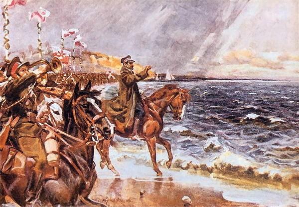 Generál Haller symbolicky vhazuje prsten do vln Baltského moře