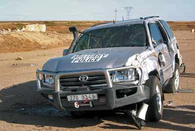havarovaná Toyota českého kontingentu
