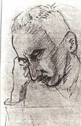 """Portrét """"Otakara Svitáka čekajícího na smrt"""" namalován spoluvězněm, 1942"""