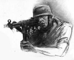 Německý voják v boji se samopalem MP 40